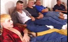 This clip features this all out gay stroking scene featuring five gay cuties naked and crammed in a double bed. Once they all got out of their clothes, they began showing off their juicy looking pricks and indulge them by rubbing them with their hands.