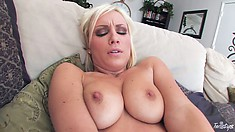 Horny blonde with nice tits goes at her pink palace with passion