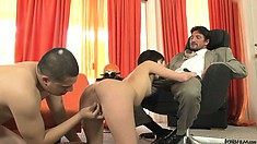 Cute little nympho gets double teamed by a son and father duo