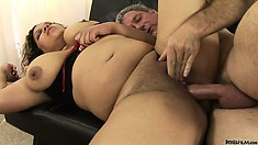 Her fat Latina twat is ripe and ready to take his cock as deep as it'll go