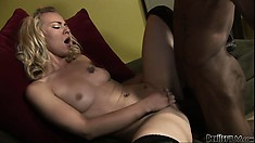 Horny blonde tries to eat his big black cock, gets licked and then drilled