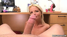 Experienced hooker can't stop taking this tremendous penis in her hands