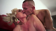 Watch blond grandma Sila gets fucked from all angles and then creampied