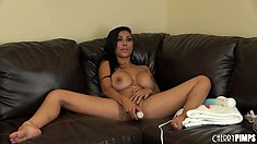 Busty Indian babe Priya Rai shows off her hot body before toying