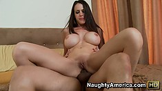 McKenzie Lee rubs her shaved slit while riding on a big raw dick
