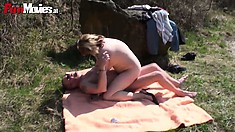 With the sun on her body, the wild milf enjoys every moment of that sexual escapade