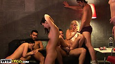 Hot sex party with college coeds taking hard cocks deep in their twats