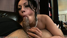 The busty babe has her luscious lips working wonders all over that throbbing shaft