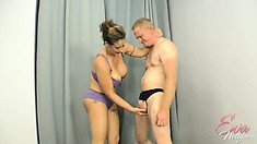 Eva Notty is literally busting his balls, she takes careful aim
