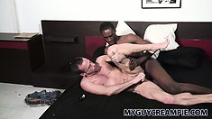 On his knees, Mitch has a big black cock fucking his ass from behind