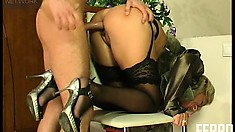 Viola wildly rides his hard dick before Rolf pounds her fiery holes doggy style