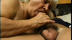 Hairy grandma enjoys stuffing her mouth with a hard young meat stick