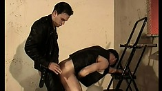 Hot gay dudes in sexy leather outfits engage in hardcore anal action