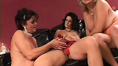 Mature lesbian sex party with these experienced babes doing all the right things