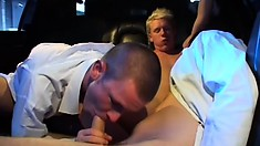 In the limo, three gay boys blow each other's cocks and enjoy hot anal sex