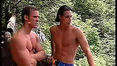 On this tropical island, horny muscled studs are on the prowl for hot gay action