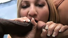 Blonde gets picked up on the street and enjoys an interracial threesome