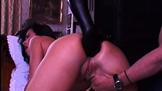 European slut has three guys filling all her holes with their big cocks