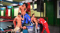 Five horny young guys explore their sexual desires on the race track