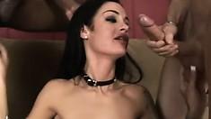 Voluptuous Angelina Valentine enjoys a hardcore interracial threesome