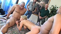 Ravishing blonde lady gets fucked by two studs and her husband watches