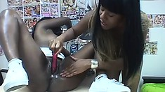 Two delightful black lesbians use sex toys to make each other cum hard