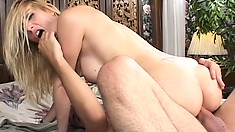 Busty blonde mom with a hot ass Celestia Star loves to ride a big dick