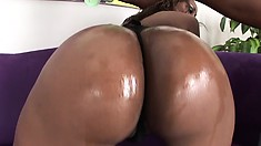 Lusty oiled chick with perfect ass is caressed and fucked by black lecher