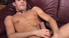 Athletic blonde hunk bends over to take a cock from the rear