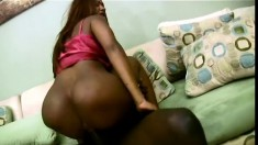 Dark skinned hottie with a superb booty gets nailed by a huge black rod