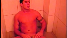 Ricco Dkados gets dirty under the shower in a hot solo session