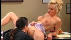 Big breasted blonde secretary Kim Katain fucks a long rod in the office