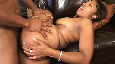 Busty chocolate girl with a big booty loves to fuck a huge black dick