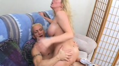 His warm sticky man goo is shot from his cannon and lands on her big natural tits
