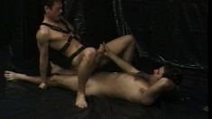 Slutty gay dude can't live without some stiff meat inside him