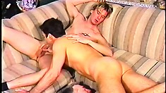 Wicked cock-hound sticks his massive penis in the tight anuses of his lovers