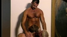 Hot gay twinks give head to an older man and fuck each other's butts