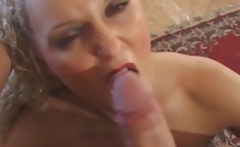 Trashy european whore gives a relentless blowjob to her man